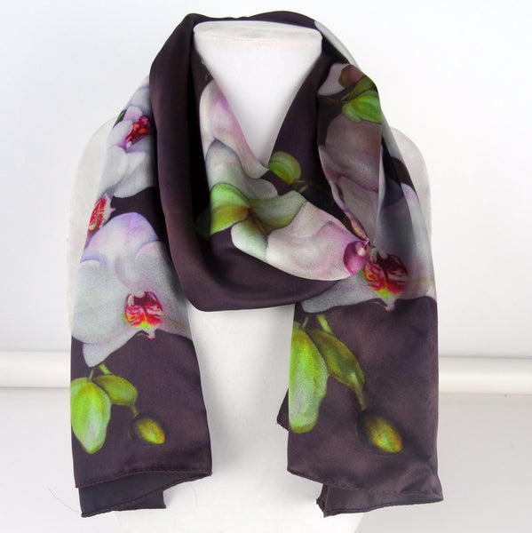 "Long Brown Silk Scarf - Spring Silk Scarf - Orchid Silk Scarf - Wedding Shawl - Silk Scarf For Her - 22""x90"""