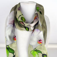 "Beige Silk Scarf -  Orchid Scarf - Spring Scarf Gift - Mother of the Bride - Shiny Silk Satin - 15"" x 60"""