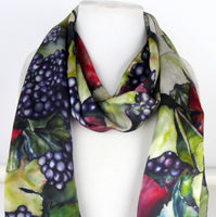 "Vineyard Art Silk Scarf - Vineyard Scarf - Winery Scarf - Spring Silk Scarf - Shiny Silk Satin - 15"" x 60"""