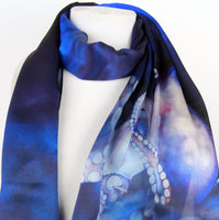 "Octopus Art Scarf - Nautical Blue Scarf - Ocean Theme Scarf - Scarf for Her - Silk Satin - 15"" x 60"""