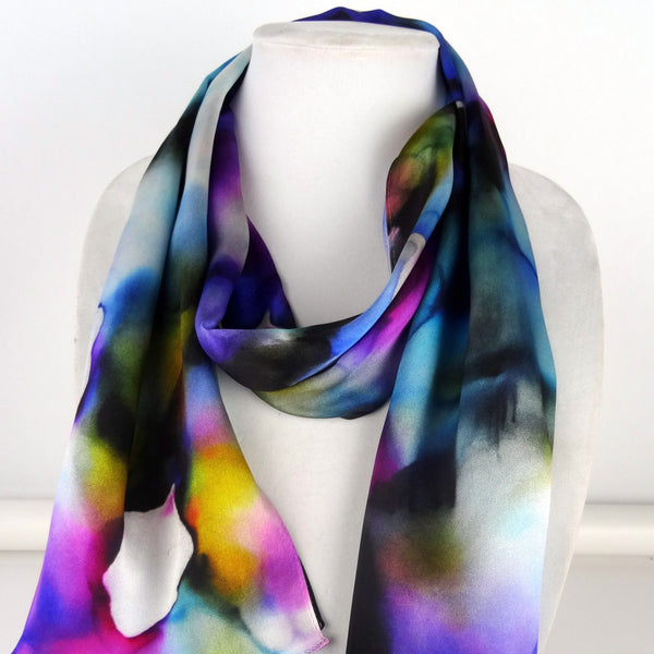 "Abstract Silk Scarf - Blue Purple Scarf - Spring Silk Scarf - Mother of the Bride - Shiny Silk Satin - 15"" x 60"""