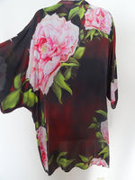 Floral Silk Kimono - Brown Silk Dinner Jacket - Peony Duster - Gift For Her - Mother of the Bride - Plus Clothing