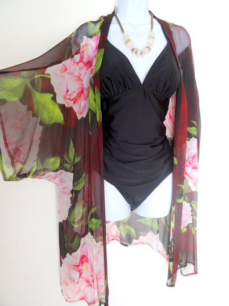 Brown Floral Kimono - Peony Silk Cover Up - Silk Duster - Dinner Jacket - Mother of the Bride - Sheer Lingerie - Plus Clothing