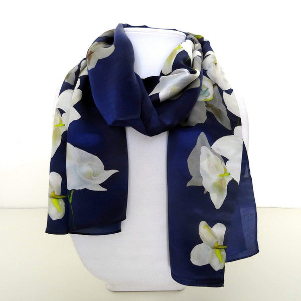 "Navy Silk Scarf - Floral Silk Scarf - White Orchids - Scarf For Her - Mother of the Bride - Wedding - Gift - 15""x 60"""