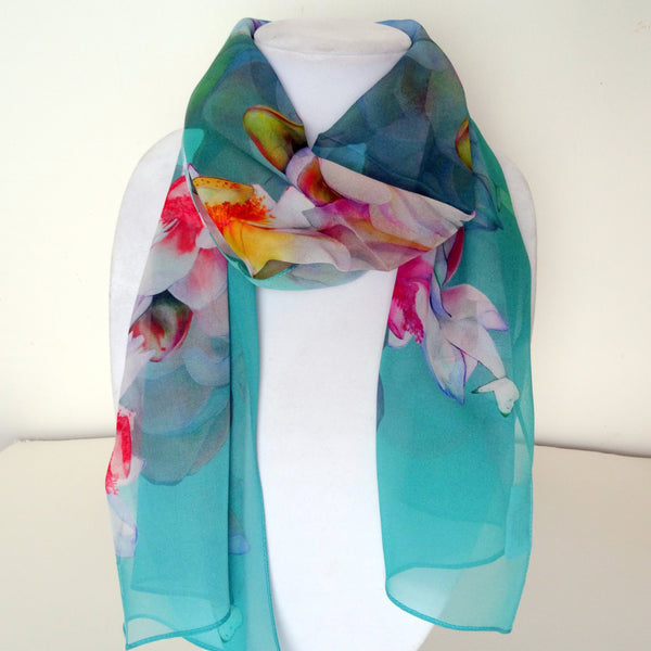 "Spring Silk Scarf - Floral Butterfly Scarf - Lotus Spring Scarf - Wedding Gift - Mother of the Bride - 15"" x 60"""