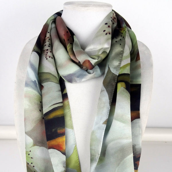 "Beige Silk Scarf - Neutral Scarf - Blossoms - Bee - Garden Lover - Shiny Satin Scarf - 15""x 60"""