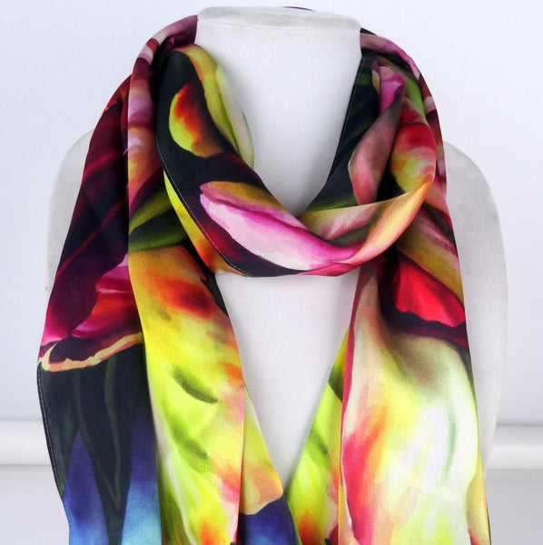 "Long Vibrant Tulip Scarf - Spring Silk Scarf - Scarf For Her - Garden Lovers - 22""x 90"""