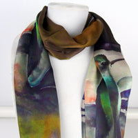 "Hummingbird Silk Scarf - Brown Silk Scarf - Mother of the Bride - Garden Lover's - For Her - Gift - 15"" x 60"""