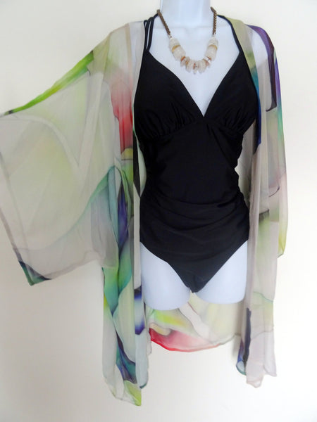 Abstract Silk Kimono - Spring Silk Cover Up - Sheer Silk Duster - Dinner Jacket - Sheer Lingerie - Plus Clothing