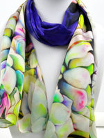 "Succulent Silk Scarf - Spring Green Silk Scarf - Mother's Day Scarf - Mother of the Bride - Satin 15"" x 60"""