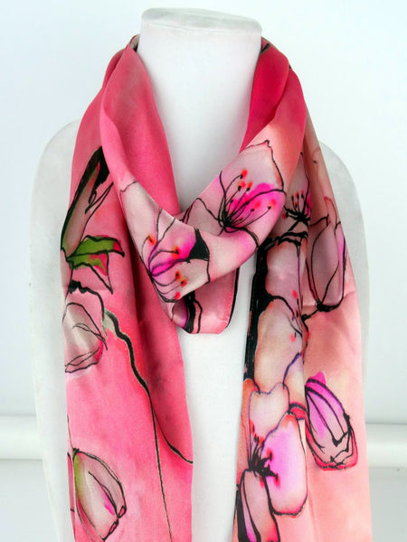 "Pink Silk Scarf - Japan Art - Cherry Blossoms - Mother's Day Scarf - Shiny Silk Satin - 15"" x 60"""