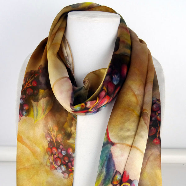 "Winery Copper Silk Scarf - Brown Silk Scarf - Spring Scarf For Her - Mother's Day Gift - Shiny Silk Satin - 15"" x 60"""