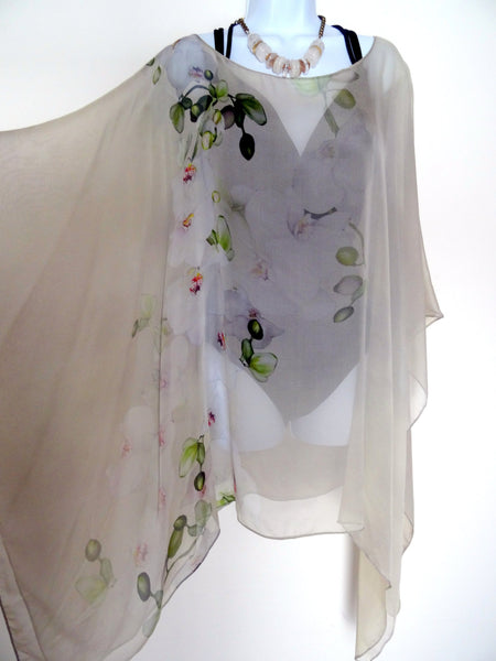 Beige Floral Poncho - Beige Cover Up - Orchids Sheer Poncho - Sheer Caftan - Plus Clothing