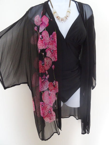 Kimono - Silk Cover Up - Black Sheer Silk - Dinner Jacket - Mother of the Bride - Silk Duster - Sheer Lingerie - Plus Clothing