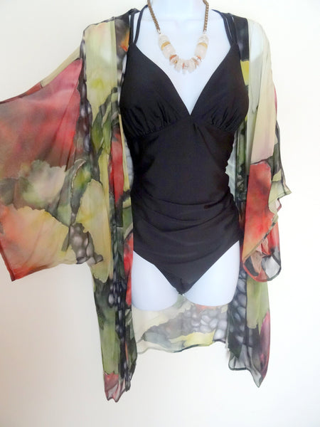 Winery Art Kimono - Vineyard Silk Cover Up - Sheer Kimono - Dinner Jacket - Sheer Lingerie - Plus Clothing
