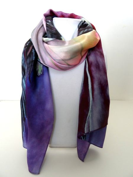 "Long Purple Scarf - Fish Scarf - Purple Scarf - Shiny Silk Satin - 22"" x 90"""