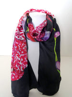 "Black Silk Scarf - Pink Orchid Scarf - Mother's Day Scarf - Silk Satin - 15""x60"""