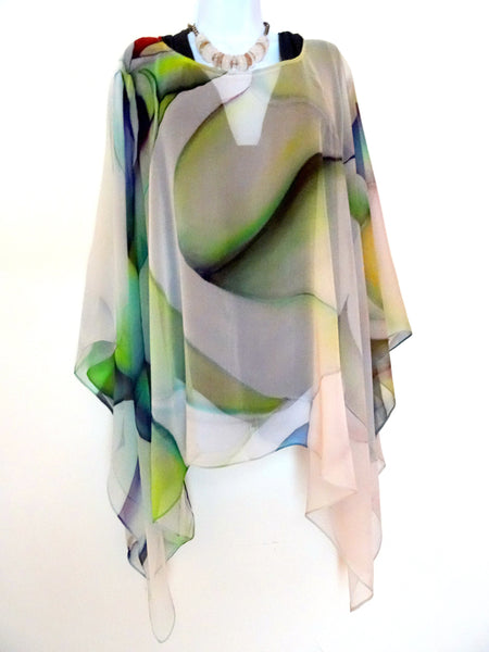 Unique Abstract Cape - Sheer Silk Coverup - Travel Silk Poncho - Sheer Caftan - Plus Clothing
