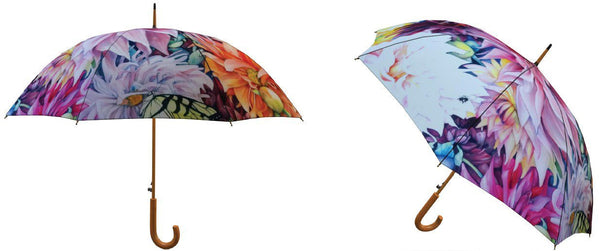 Umbrella - Wedding Umbrella with Wooden Handle - Wedding Parasol - Bridal Umbrella - Art Umbrella - Floral Parasol