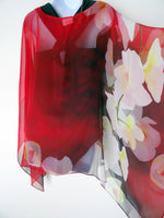 Red Silk Poncho - Red Floral Art Cape - Floral Cover Up - Sheer Caftan - Plus Clothing