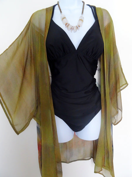 Copper Silk Kimono - Hummingbird Silk Kimono - Silk Dinner Jacket - Sheer Lingerie - Mother of the Bride - Plus Clothing