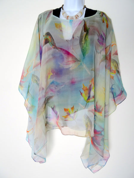 Pastel Spring Art Cape - Leaf Silk Cape - Hummingbird Gift For Her - Sheer Silk Caftan - Plus Clothing