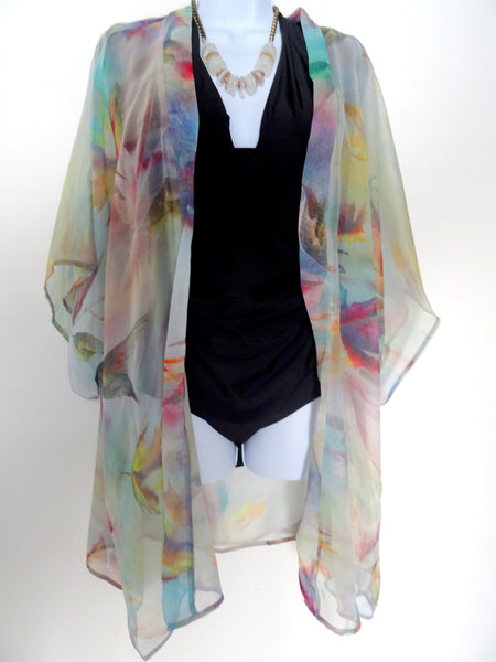 Pastel Silk Kimono - Leaf Hummingbird Silk Cover Up - Dinner Duster Jacket - Mother of the Bride - Sheer Lingerie - Plus Clothing