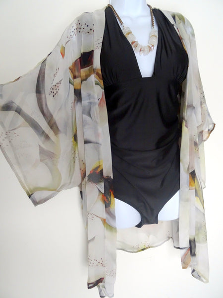 Beige Silk Kimono - Silk Cover Up - Neutral Dinner Jacket - Beige Silk Duster - Sheer Lingerie - Plus Clothing