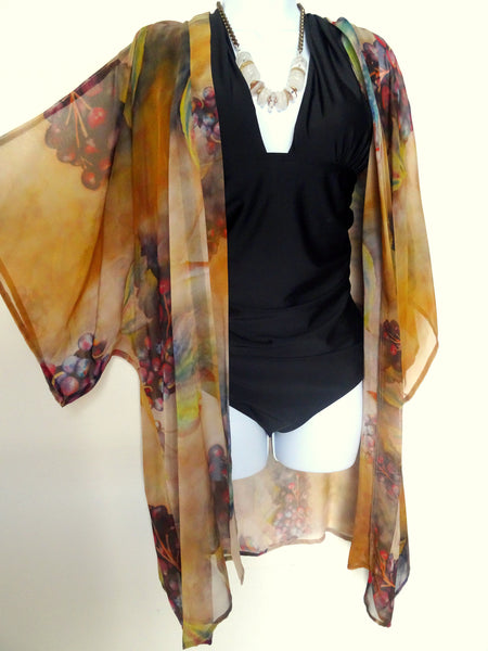 Bronze Silk Kimono - Silk Cover Up - Tuscany Inspired Kimono - Lingerie For Her - Sheer Lingerie - Plus Clothing