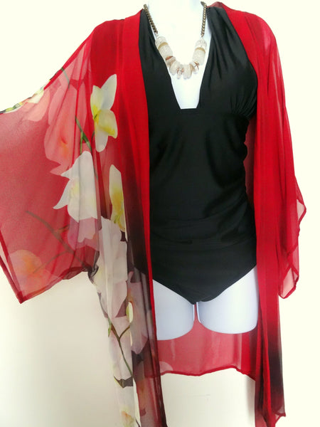 Floral Silk Kimono - Red Silk Cover Up - Dinner Jacket - Mother of the Bride - Silk Duster - Sheer Lingerie - Plus Clothing