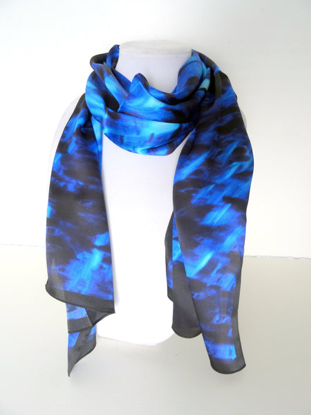 "Blue Silk Scarf - Abstract Swirl Scarf - Mother of the Bride - Shiny Silk Satin - 15"" x 60"""