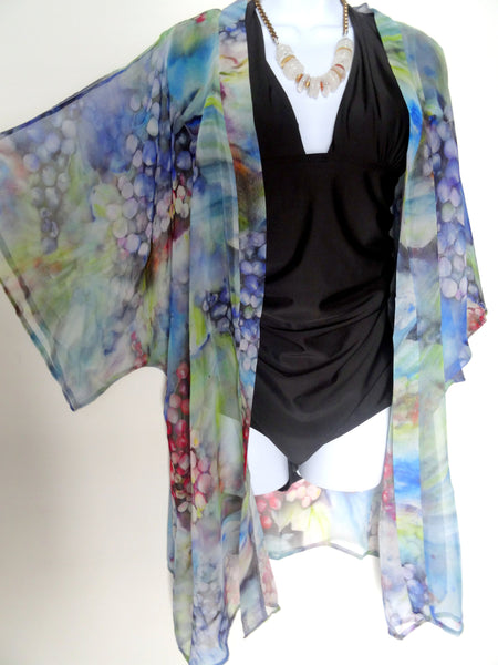 Blue Silk Kimono - Blue Silk Cover Up - Dinner Jacket - Mother of the Bride - Silk Duster - Sheer Lingerie - Plus Clothing