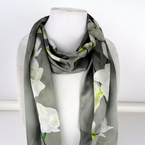 "Long Gray Floral Scarf - Orchids Scarf - Spring Scarf For Her - Mother of the Bride - Shiny Silk Satin - 22"" x 90"""