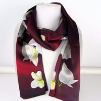 "Long Burgundy Silk Scarf - Valentine Scarf - Orchid Scarf For Her - Shiny Silk Satin - 22"" x 90"""