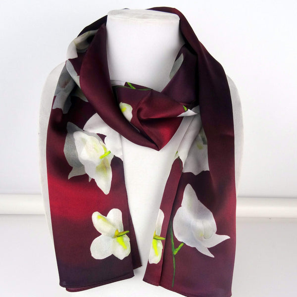 Orchid spray on Burgundy Merlot Silk Scarf