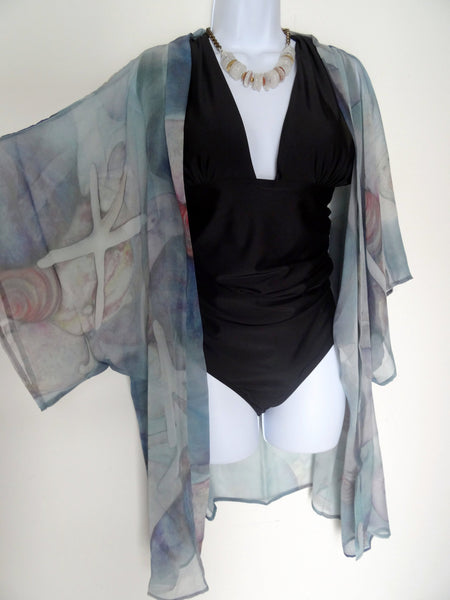 Blue Silk Kimono - Silk Cover Up - Dinner Jacket - Shells - Beach - Mother of the Bride - Sheer Lingerie - Plus Clothing