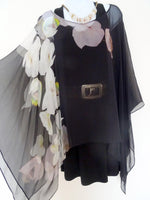 Black Silk Poncho - Silk Cover Up- Black and White - Orchids - Sheer Floral Caftan - Plus Clothing