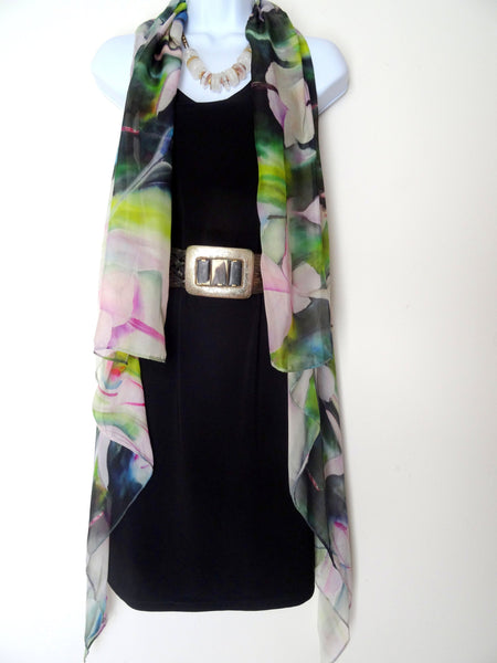 Hummingbird Vest - Watercolor Silk Scarf - Silk Poncho - Wearable Art - Resort Wear - One Size Plus