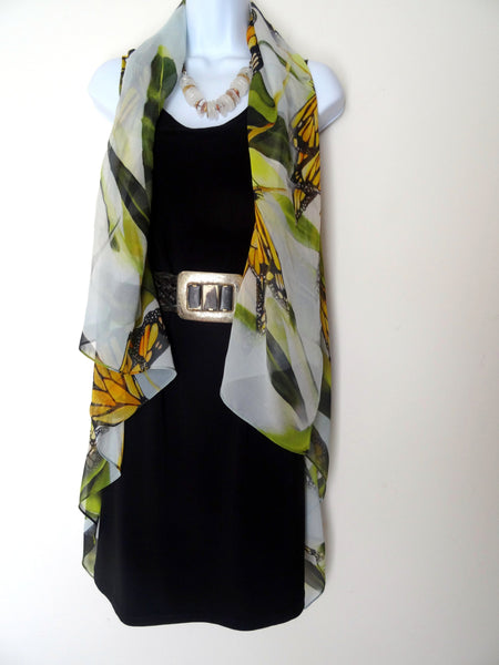 Butterfly Sleeveless Duster - Monarch Silk Scarf - Poncho - Wearable Art - Resort Wear - Made in USA