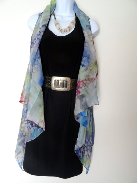 Silk Sleeveless Duster - Silk Scarf - Grapes - Vineyard Poncho - Plus Clothing