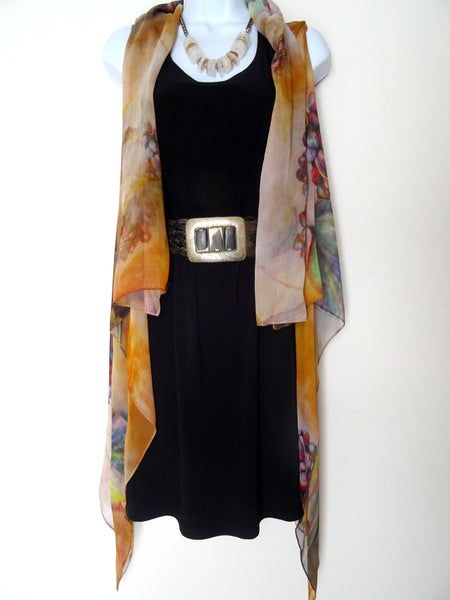 Silk Sleeveless Duster - Brown Silk Vest - Winery Art Vest - Travel Wear - One Size