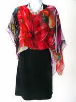 Floral Sleeveless Duster - Silk Scarf - Poncho - Garden Lover - Resort Wear - One Size