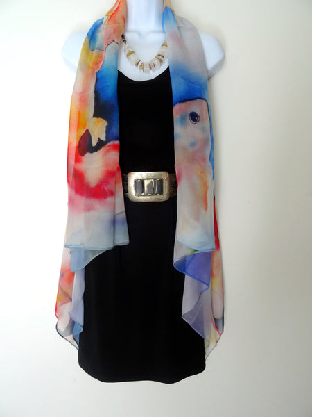 Abstract Sleeveless Duster - Goldfish Silk Scarf - Japan Art Vest - Spring Vest - One Size