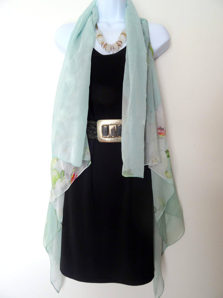 Floral Vest - Silk Scarf - Orchid Silk Scarf - Mint Green Poncho - Travel Wear - Mother of the Bride - One Size