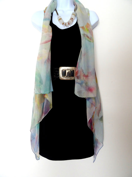 Pastel Sleeveless Duster - Blue Silk Scarf - Poncho - Orchid Scarf - Plus Clothing
