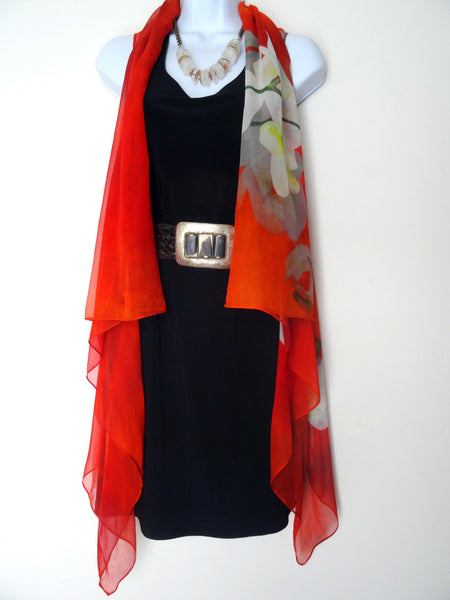 Orange and White Vest - Spring Silk Vest - Orange Silk Scarf - Floral Orchid Scarf - Made in USA