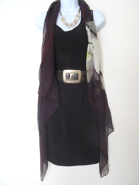 Silk Sleeveless Duster - Burgundy Silk Scarf - Poncho - Orchid Scarf - Mother of the Bride - One Size