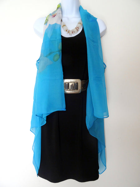 Turquoise Floral Vest - Spring Orchid Vest - Mother of the Bride - One Size