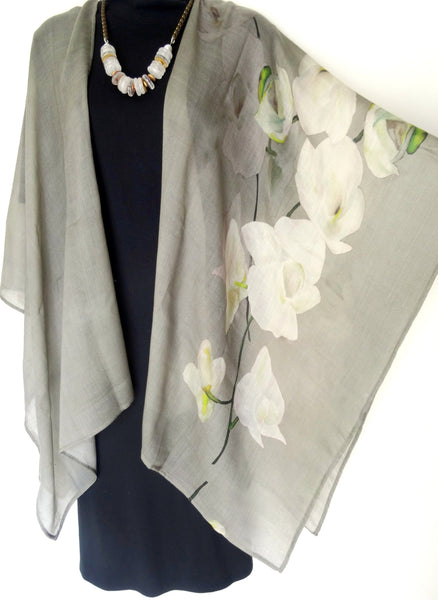 Wool Ruana - Fall Wrap - Light Wool - Gray - Travel Wear - Wedding - ONE SIZE PLUS