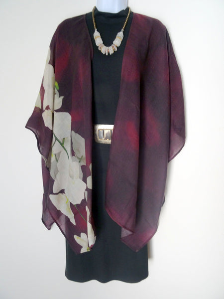 Burgundy Wool Ruana - Light Wool Cape - Red Wool Wrap - Spring Cape for Her - ONE SIZE